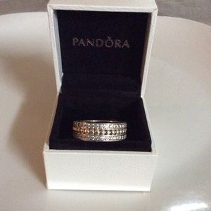Authentic Pandora Forever Wide CZ'S Band Sz 8.5
